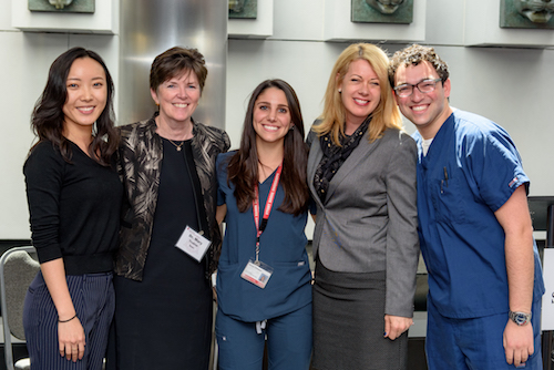 Ms. Erin Wang, Class of 2019, Dr. Mary Truhlar, Dean, Dr. Jenna Chimon, Class of 2018, Ms. Melissa Marlin, Dentsply Sirona, Dr. Michael Winter, Class of 2018