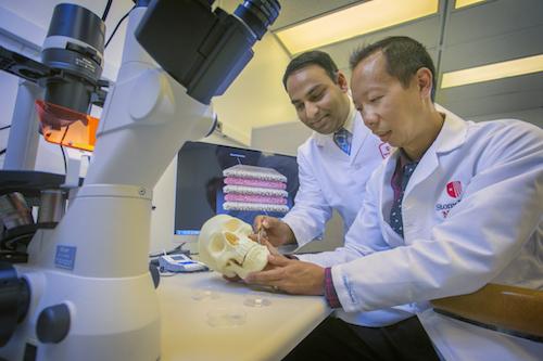 Dr. Srinivas Myneni and Dr. David Lam of Stony Brook School of Dental Medicine Shown in Lab