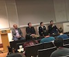 Panel of four dental field experts address Stony Brook School of Dental Medicine with career guidance.
