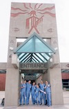 Stony Brook School of Dental Medicine Students Outside Entrance of Pine Ridge, South Dakota Health Facility