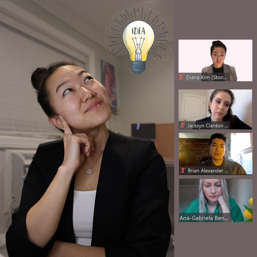"""Stony Brook University School of Dental Medicine student Diana Kim participates in a virtual meeting, """"I Have an ADEA"""" with students from other dental schools."""