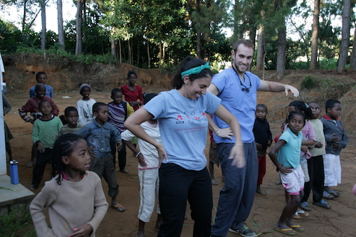 Stony Brook School of Dental Medicine Students, Brandon Gruffi and Taylor Truncali, Lead Children in Dance in Madagscar