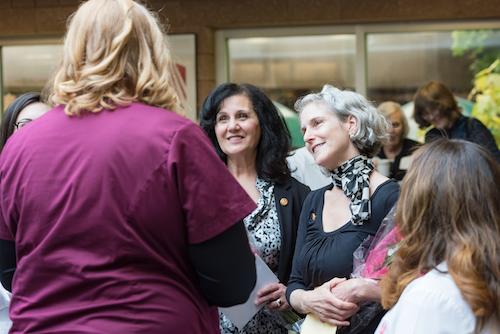 Dental Assistant Program Valedictorian, Joyce Lax, Talks With Lisa Borzumato and Maria Nardiello at Reception Following Graduation