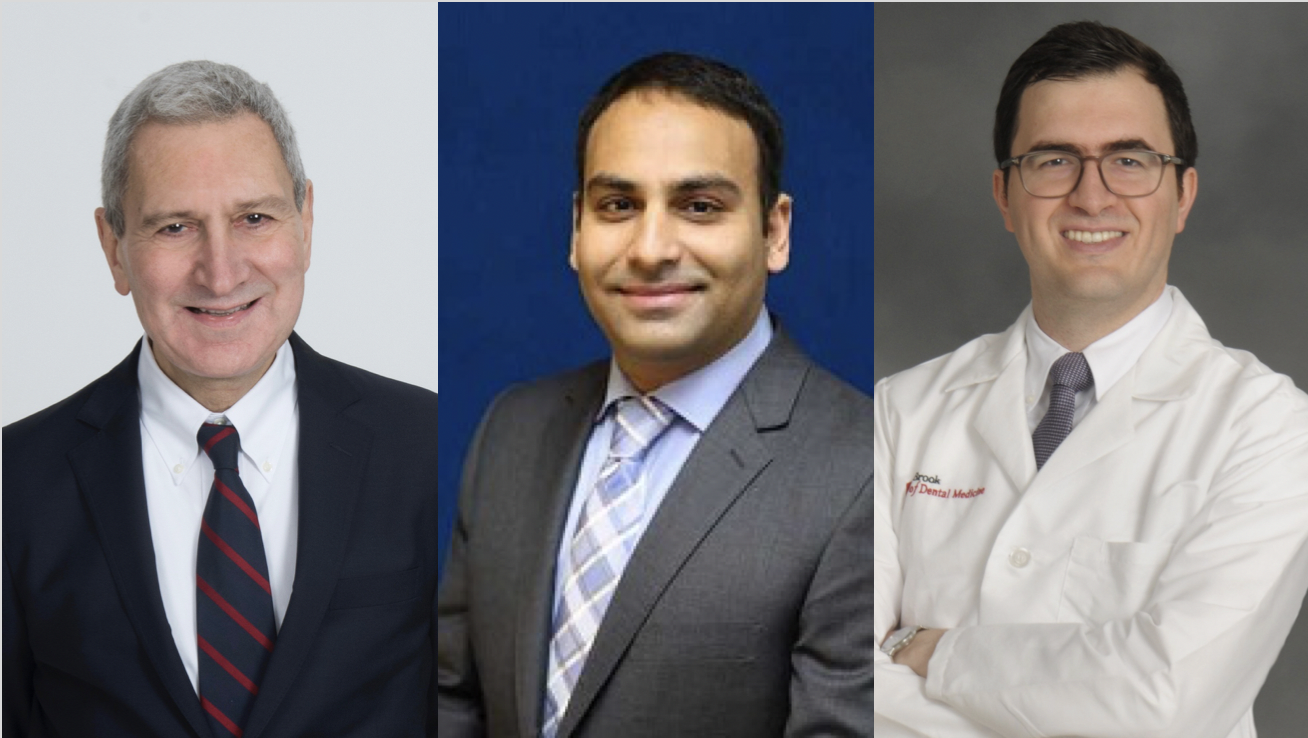 Composite of headshots of (left to right) Dr. Vincent Iacono, Dr. Srinivas Myneni, and Dr. Hossein Bassir