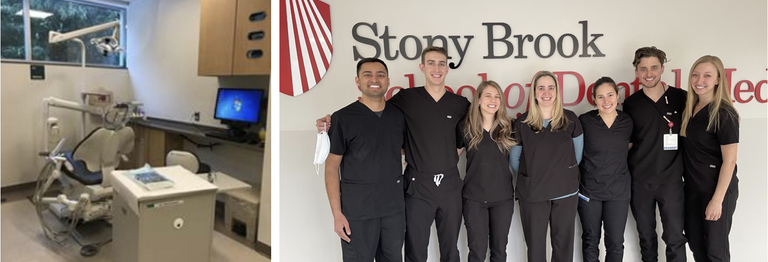 A composite of two photos. The photo on the left is of a dental treatment chair within a clinical setting. The photo on the right is a group photo of the members of the Advanced Education Program in Prosthodontics.