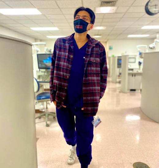 Stony Brook University School of Dental Medicine student Varun Goyal in the dental clinic