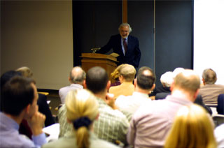 Dr. Rifkin talking to students in the lecture hall