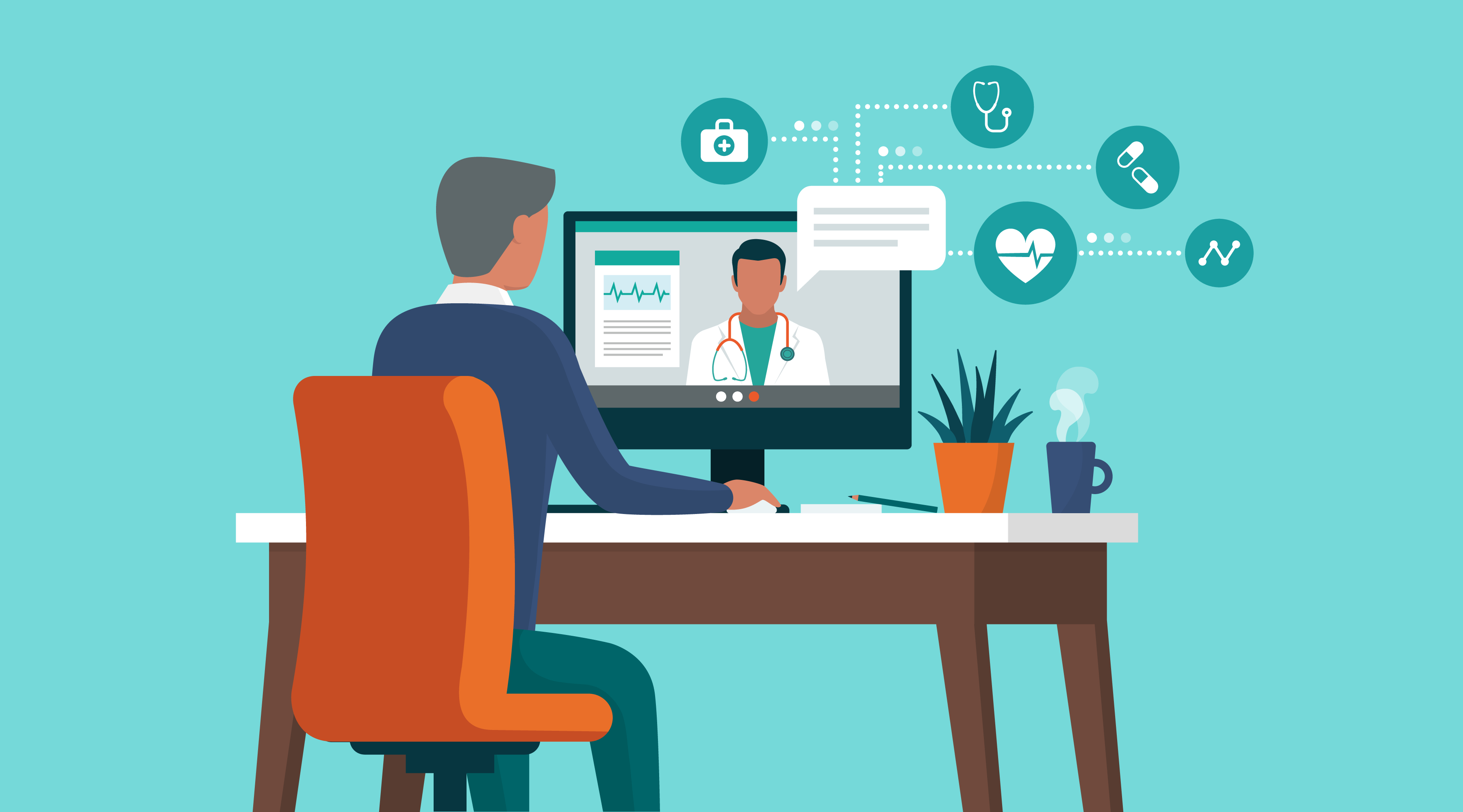 Illustration of a patient meeting with a doctor via their desktop computer.